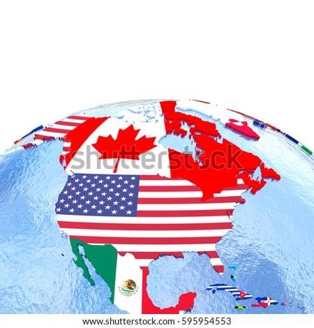 North America On Political Globe National Stock Illustration