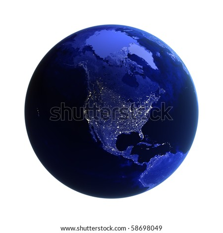 North America on white. Maps from NASA imagery - stock photo