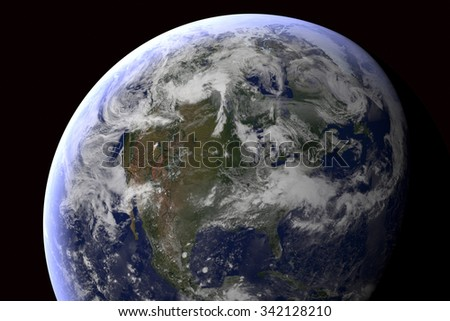 North America: Planet Earth in Space: computer generated image of planet earth in space. Elements of this image furnished by NASA. - stock photo