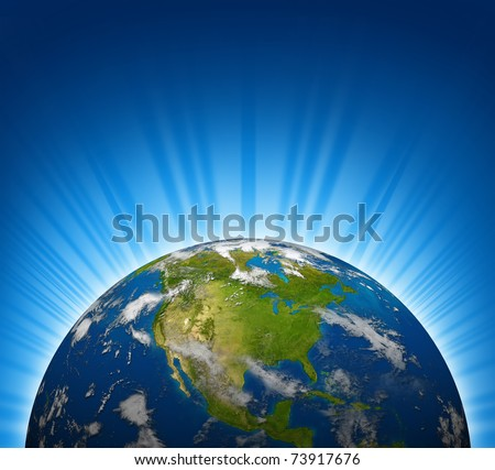 North america view on an Earth planet globe model with a bright radial blue background. - stock photo