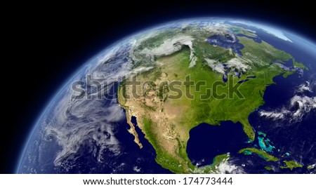North America viewed from space with atmosphere and clouds. Elements of this image furnished by NASA. - stock photo