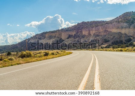 North american asphalt mountain road in beautiful sunny autumn weather Colorado,  USA
