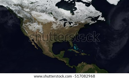 North American Day Map Space View (Elements of this image furnished by NASA)