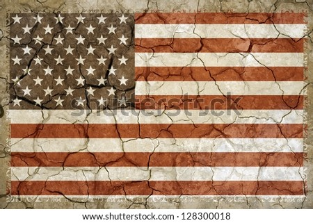North American Drought Theme. United States of America Flag Cracked by Extreme Drought.  Drought Background