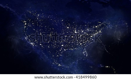 North American Night Energy Glowing Map (Elements of this image furnished by NASA) - stock photo