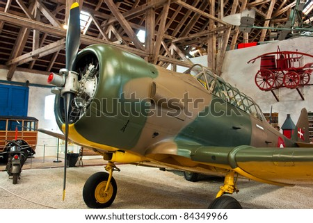 North American T6 Harvard classical vintage WW2 plane - stock photo