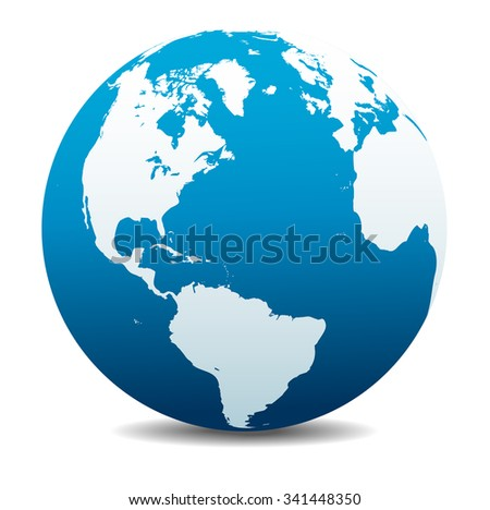 North and South America, Europe, Africa Global World - Raster Version - stock photo