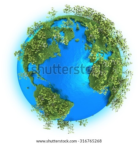 North and South America, Europe and Africa on grassy planet Earth with cotton isolated on white background