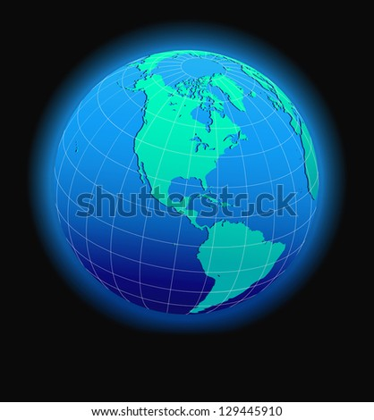 North and South America Global World - Elements of this image furnished by NASA - The Base Map was traced manually using the pen tool for maximum detail - Raster Version - stock photo