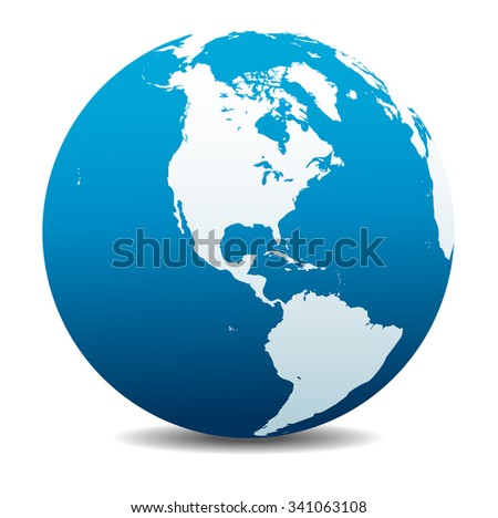 North and South America Global World - Raster Version - stock photo