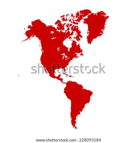 North and South America in modern map illustration - stock photo