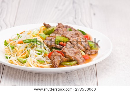 North Asian dish Mongolian Noodles with Beef - stock photo