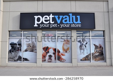 North Bay, Ontario, Canada - April 30, 2015: Sign of Petvalu store in North Bay. - stock photo
