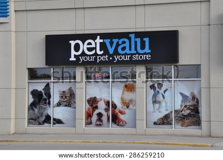 North Bay, Ontario, Canada - April 30, 2015: Signage of Petvalu store in North Bay. - stock photo