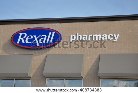 North Bay, Ontario, Canada - July 29, 2015: Signage of Rexall Pharmacy in front of the store.