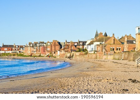 North Berwick beach in Scotland in the late afternoon - stock photo