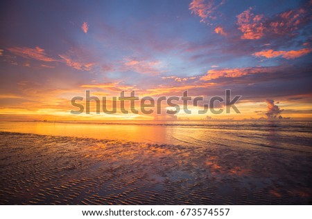 north Borneo sunset view with extreme color with reflection