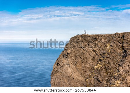 North Cape (Nordkapp), on the northern coast of the island of Mager¸ya in Finnmark, Northern Norway. - stock photo
