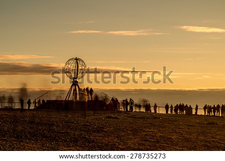 NORTH CAPE, NORWAY - JUNE 30, 2014: People visiting North Cape (Nordkapp), on the northern coast of the island of Mager�¸ya in Finnmark, Northern Norway.