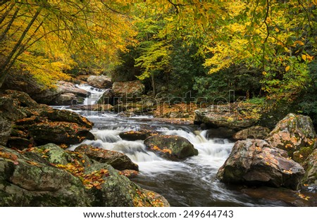 North Carolina Autumn Cullasaja River Scenic Landscape near Highlands NC in western North Carolina outdoors during the fall foliage
