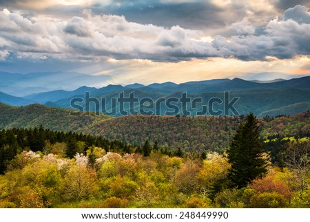 North Carolina Blue Ridge Parkway scenic mountain landscape near Asheville NC - stock photo