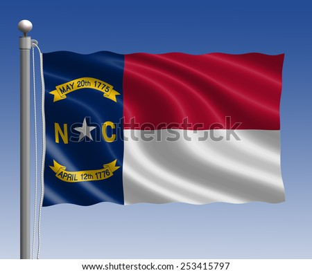 North Carolina flag in pole on blue sky background