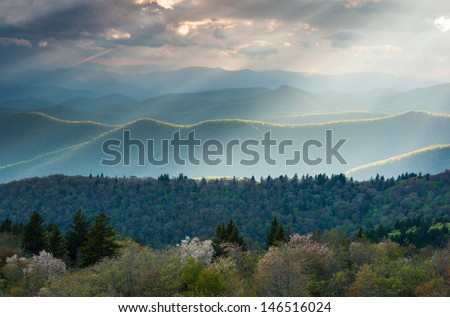 North Carolina Great Smoky Mountains Spring Sunbeams - stock photo