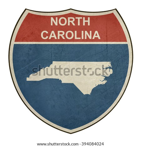 North Carolina interstate highway road shield isolated on a white background. - stock photo