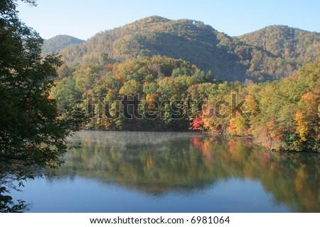 North Carolina mountains in the autumn - stock photo