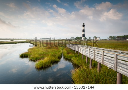 North Carolina Outer Banks Bodie Island Lighthouse Marsh on Cape Hatteras National Seashore - stock photo