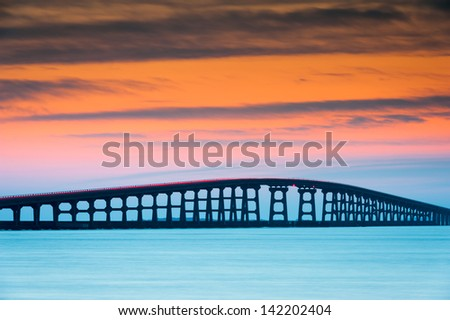 North Carolina Outer Banks Herbert Bonner Oregon Inlet Bridge - stock photo