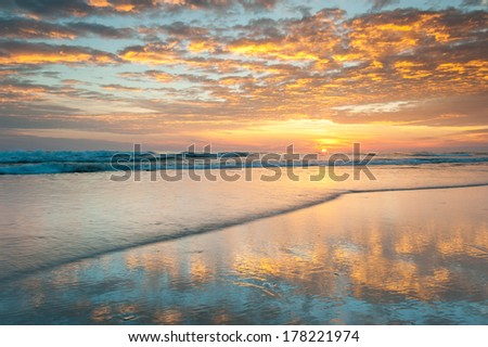 North Carolina Outer Banks Sunrise Pea Island National Wildlife Refuge - stock photo