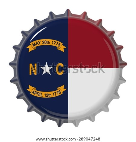 North Carolina State flag on bottle cap. 3D rendering