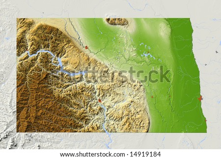 North Dakota. Relief map, with major urban areas, surrounding territory greyed out. Colored according to elevation. Clip path for the state area included. Data sources: NASA, US Census Bureau - stock photo