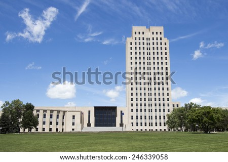 North Dakota State Capital, Bismarck, ND - stock photo