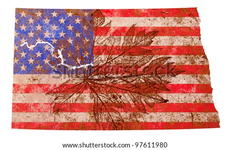 North Dakota state of the United States of America in grunge flag pattern isolated on white background - stock photo