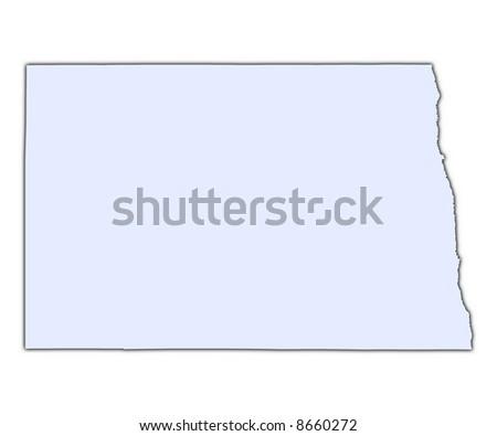 North Dakota Usa Light Blue Map With Shadow High Resolution Mercator Projection