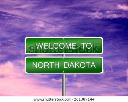 North Dakota welcome US state vacation landscape USA sign travel. - stock photo