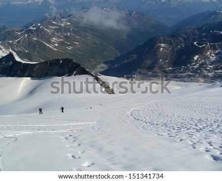 North-eastern face/wall of Weisshorn (4506 m), Wallis Alps, Switzerland