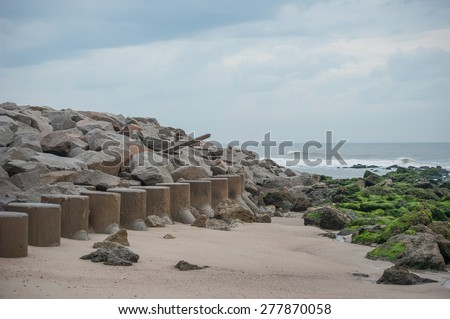North end of Fort Fisher, NC shoreline/ End of the Line - stock photo
