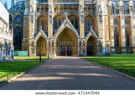 north entrance of the Westminster Abbey in London, UK