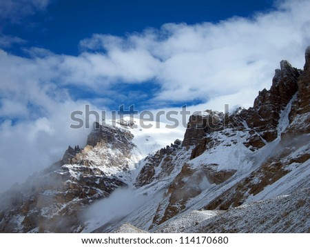 North Everest Base Camp in Tibet - stock photo