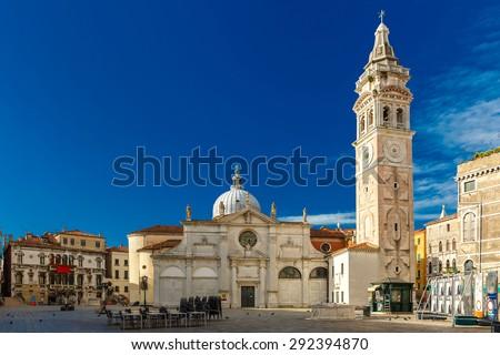 North facade of Church Santa Maria Formosa in the Castello, Venice at morning, Italia - stock photo