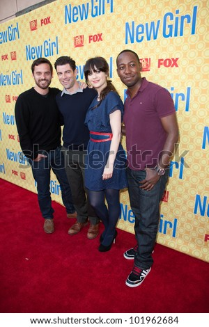 NORTH HOLLYWOOD, CA - MAY 07: Jake M. Johnson, Max Greenfield, Zooey Deschanel & Lamorne Morris arrive to the screening of Fox's 'New Girl' at the Goldenson Theatre on May 7, 2012 in N. Hollywood, CA - stock photo