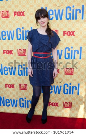 NORTH HOLLYWOOD, CA - MAY 07: Zooey Deschanel arrives to The Academy of Television Arts & Sciences' screening of Fox's 'New Girl' at the Goldenson Theatre on May 7, 2012 in North Hollywood, CA - stock photo