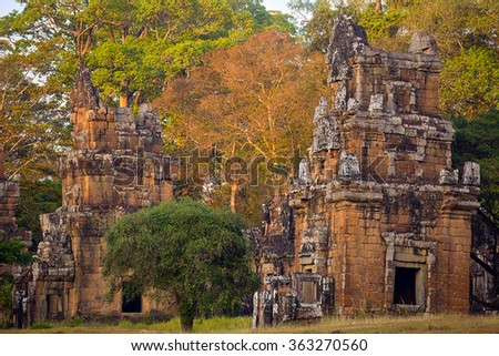 North Khleang towers in Angkor Thom complex at sunset light