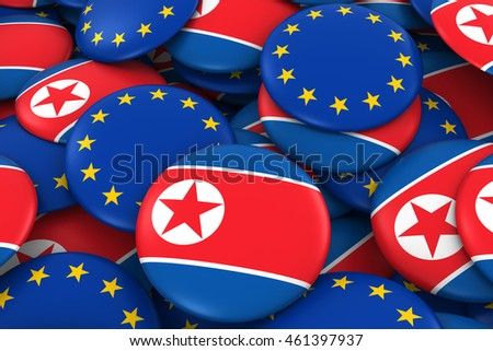 North Korea and Europe Badges Background - Pile of North Korean and European Flag Buttons 3D Illustration