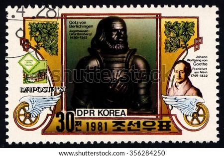 NORTH KOREA - CIRCA 1981: A stamp printed in DPR Korea dedicated to Naposta 1981 shows Goetz Von Berlichingen, circa 1981 - stock photo