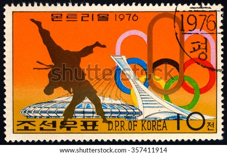 NORTH KOREA - CIRCA 1976: A stamp printed in DPR Korea dedicated to Olympic Game shows Takaedo, circa 1976 - stock photo