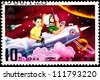NORTH KOREA - CIRCA 1980:  A stamp printed in North Korea commemorates International Children's Week showing children riding a rocket in outer space, circa 1980. - stock photo